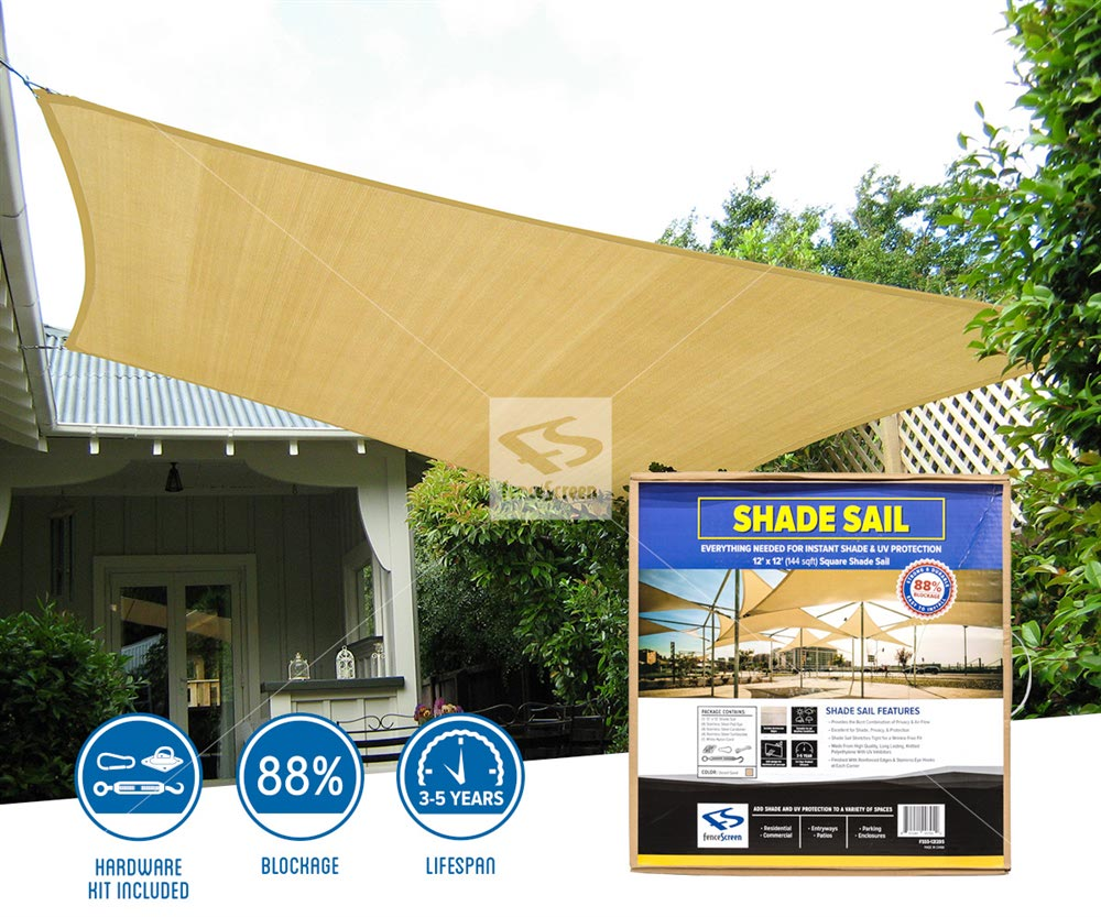 Square Sun Shade Sails - Tan Residential Install