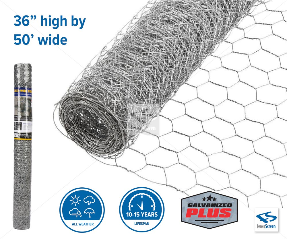 "Chicken Wire Poultry Netting - 50' long x 36"" tall"