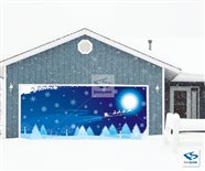 Christmas Night Backdrop on Two Car Garage