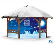 Christmas Night Backdrop on Gazebo