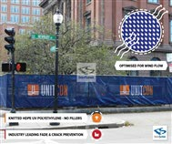 Commerical Building Security Fence Branding Blue