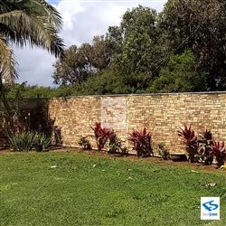 Stone Wall Backyard