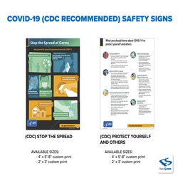 COVID-19 CDC Recommended Safety Precaution Signs