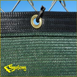 Close Up of Binding and Grommet with Fencescreen Fence Fastener - Green