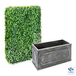 "6' Tall Ligustrum Ficus Hedge Wall with 15"" tall Charcoal Chateau Traditional Planter Box"