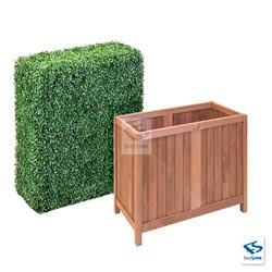 "4' Tall Boxwood Hedge Wall with 24"" Tall Hampton Classic Planter Box"