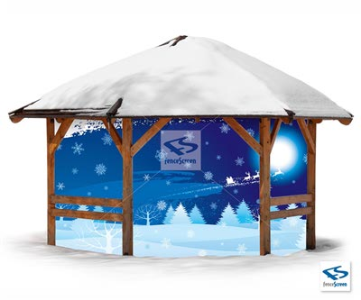 Christmas Night Patio Screen - Holiday Patio Screen 80%