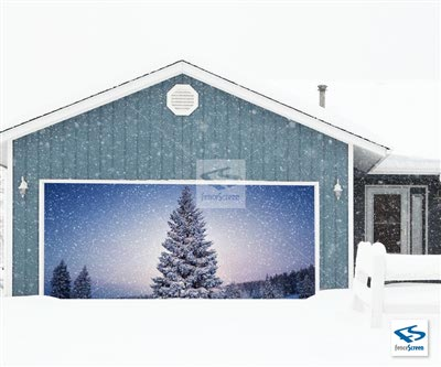Holiday Tree Garage Backdrop - Holiday Patio Screen 80%