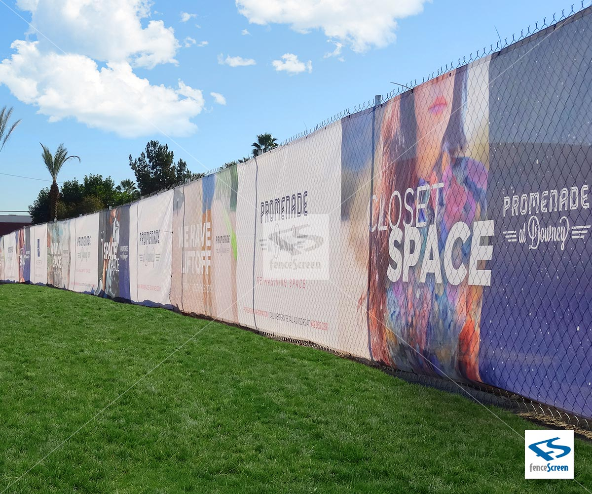 Custom Printed Full Color Fence Wrap On Pvc Mesh Banner Or