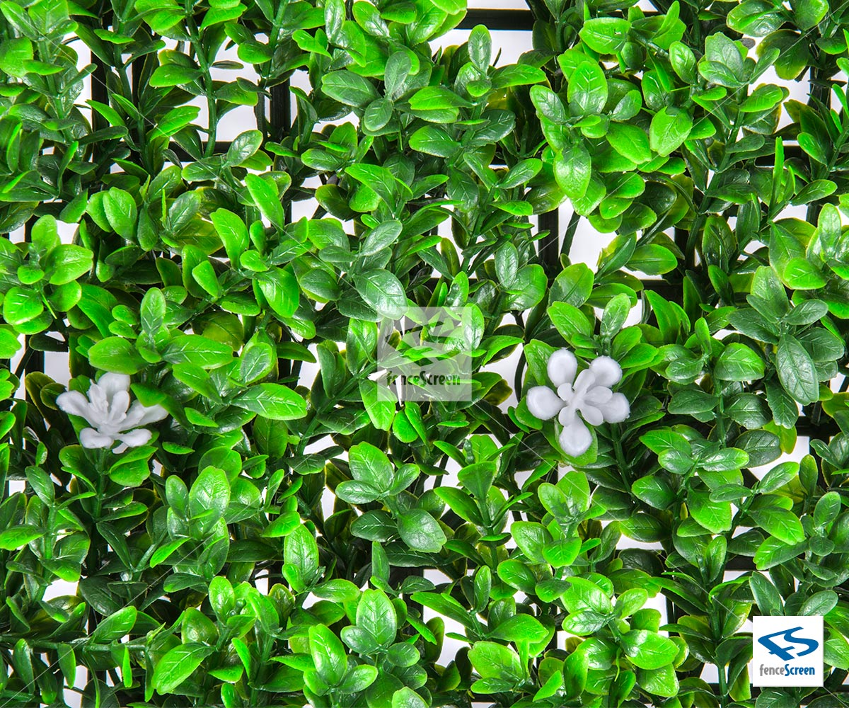 Faux Myrtle Leave With White Flower Hedge Mat