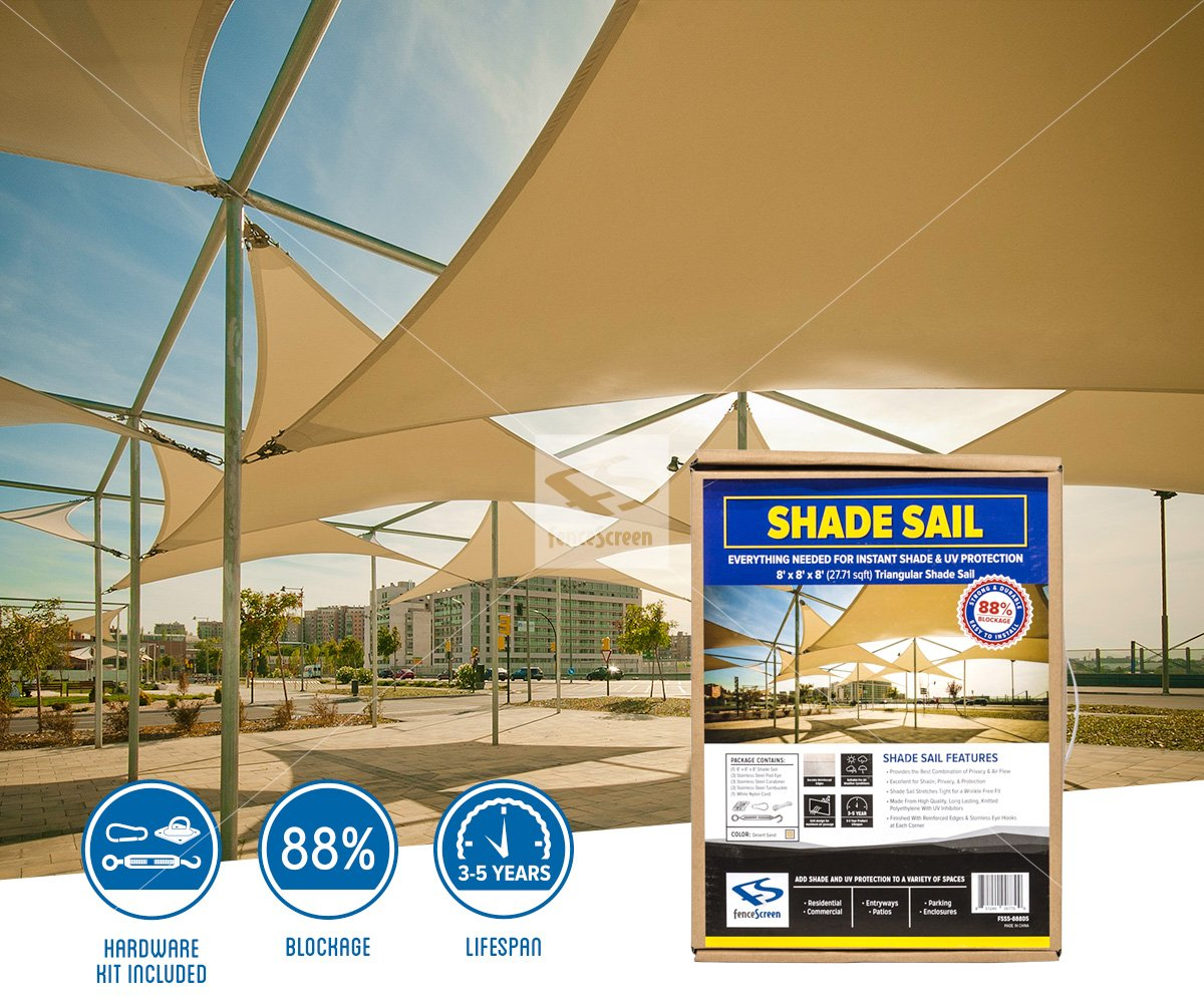 Triangle Sun Shade Sails - Tan Install & Triangle Shade Sails for Residential u0026 Commercial Areas