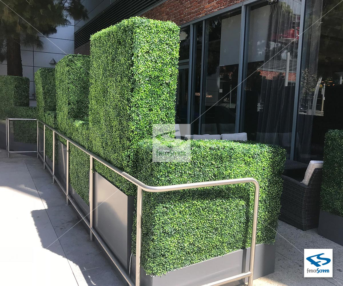 Artificial Boxwood Hedges with Planter Box