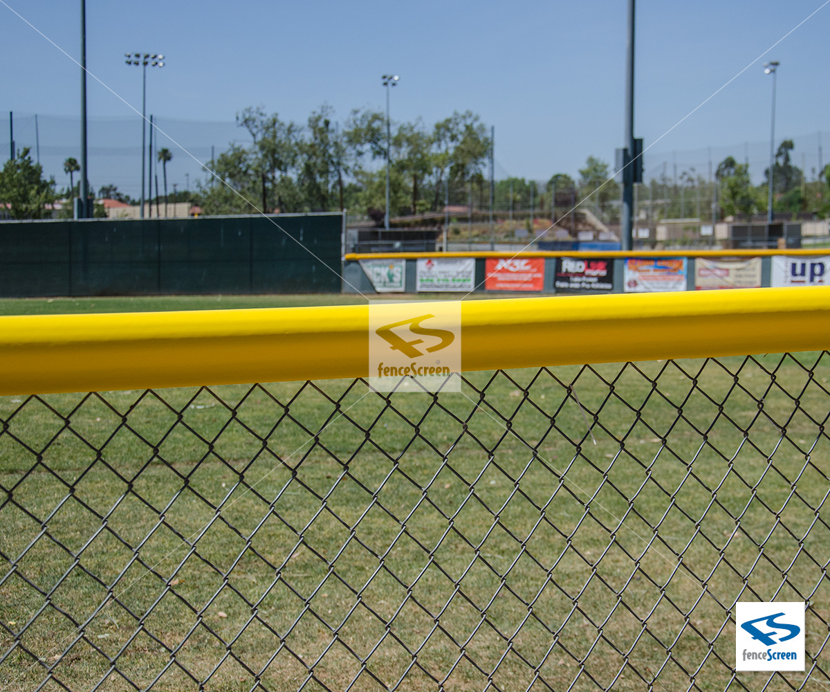 Yellow Chain Link Fence Topper For Baseball Outfield Fences