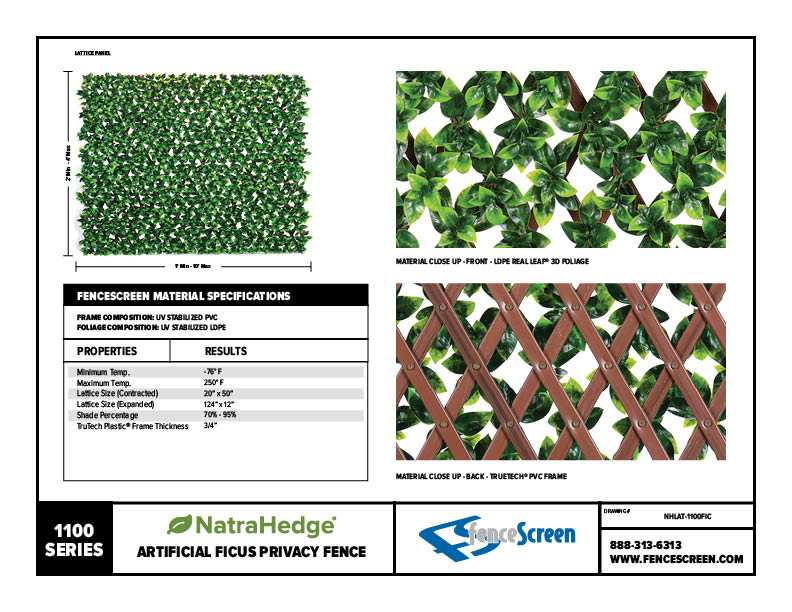 Expandable Faux Ficus Privacy Fence From Natrahedge