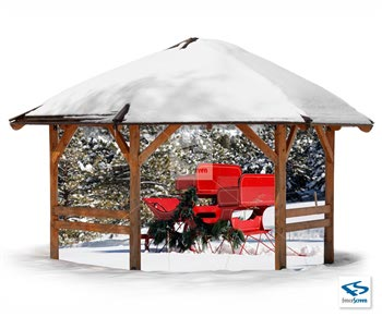 Winter Red Sleigh Patio Backdrop - Holiday Patio Screen 80%